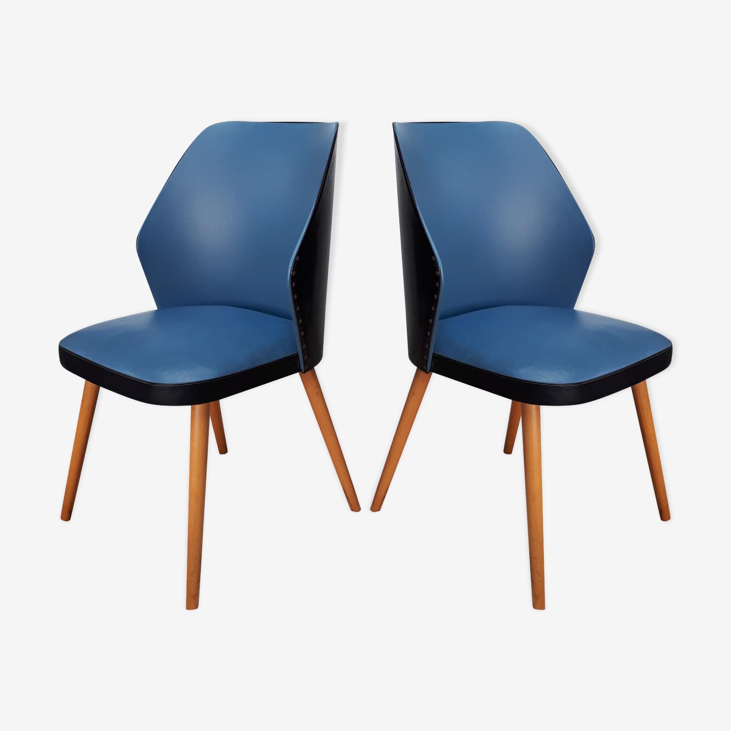 Paire de chaises vintage skai années 50/60