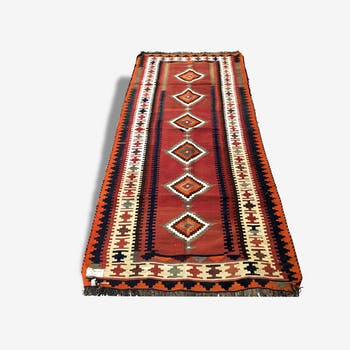 Woven carpet Persian: Kilim Gashqai 283 x 121 cm - Iran - around 1970