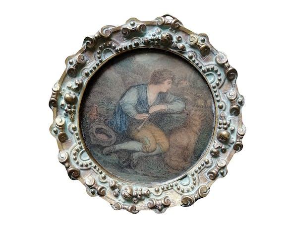 Tableau miniature sur papier cadre en bronze  XIXème