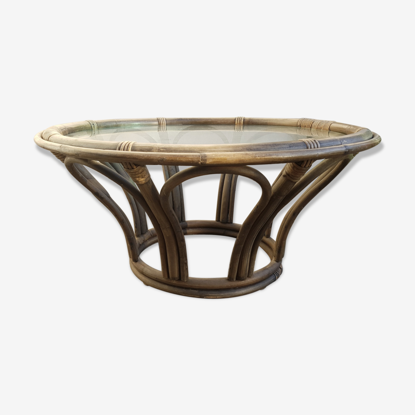 Table basse rond bambou rotin vintage