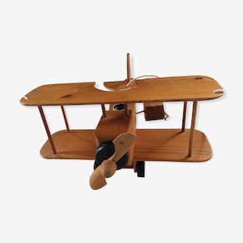 Suspension en bois clair et en forme d' avion électrifié annèes 70