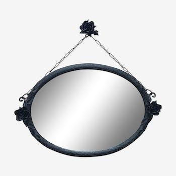 miroir mural fer forg martel noir losange art d co fer art d co 162181. Black Bedroom Furniture Sets. Home Design Ideas