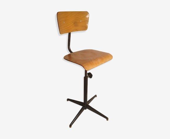 chaise d 39 atelier ancienne ann e 70 r glable m tal bois vintage m tal bois couleur. Black Bedroom Furniture Sets. Home Design Ideas