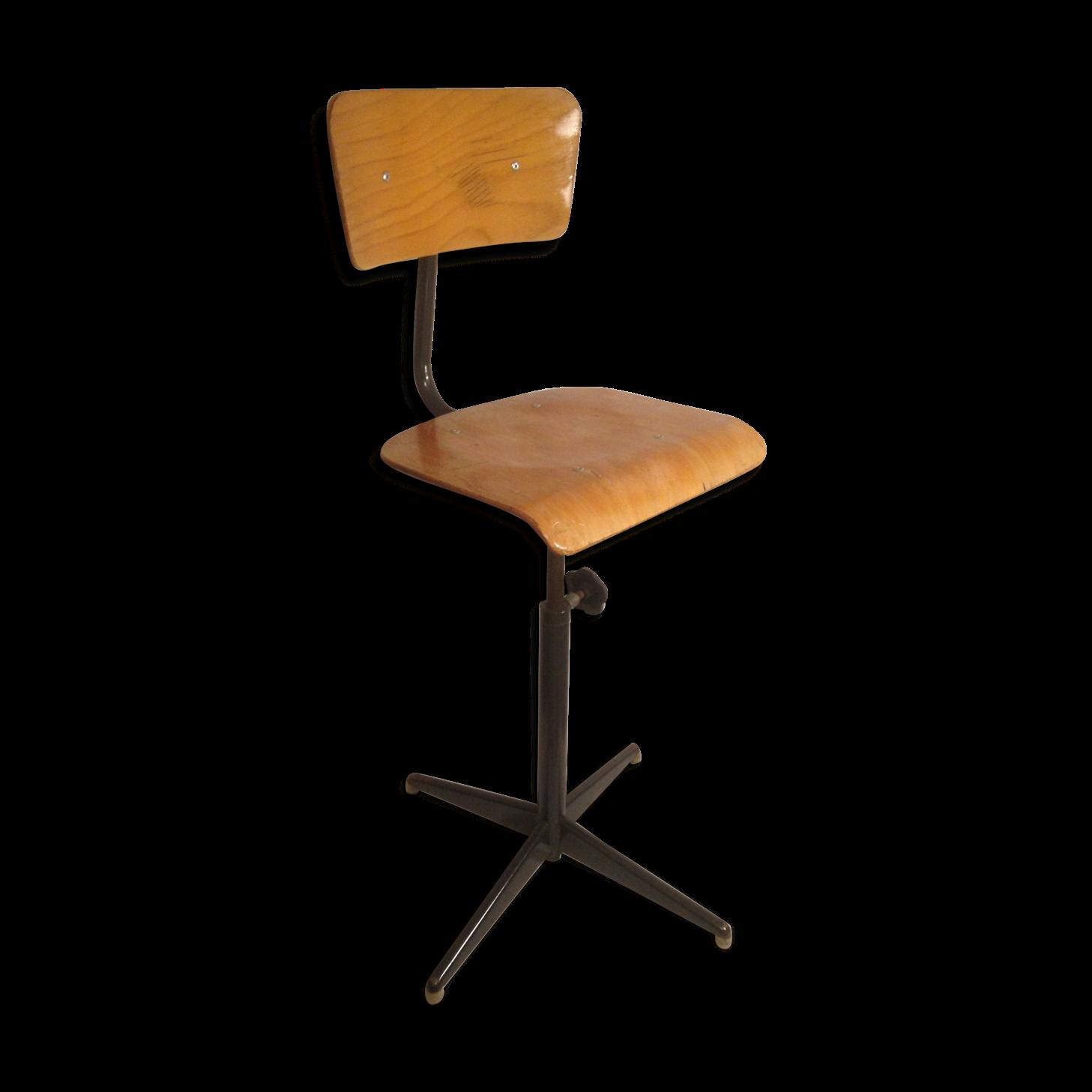 chaise-d-atelier-ancienne-annee-70-reglable-metal-bois-vintage_original Meilleur De De Tabouret De Bar Sans Dossier Conception