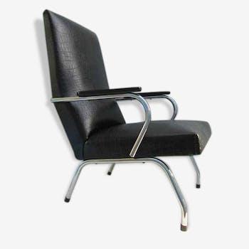 Chair black faux, tubular skai easy chair