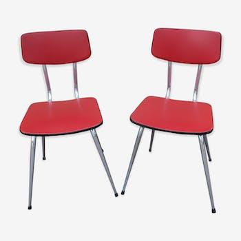 Lot 2 chaise cuisine vintage rouge