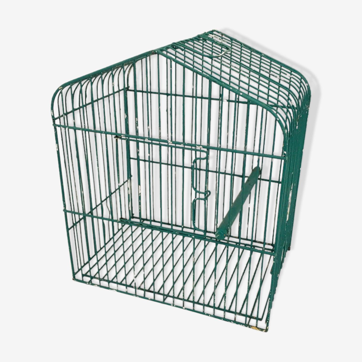 Cage à oiseau vintage métal vert