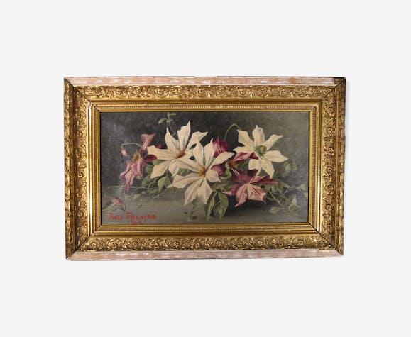 Peinture huile sur toile fleurs clématites signé François Rose 1904