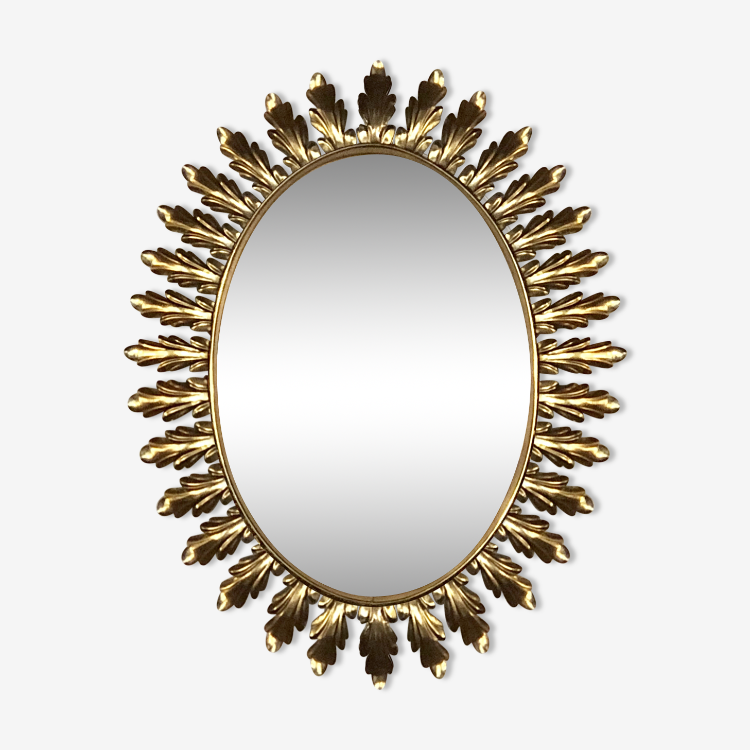 Miroir vintage ovale à palmettes dorées 72x56cm