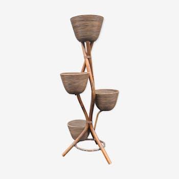 Porte plantes en rotin et bambou vintage