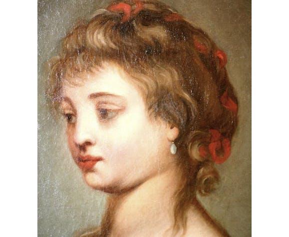 Peinture huile sur toile portrait de jeune fille fin 18ème