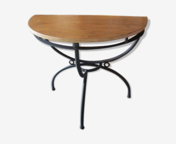 console bois et fer forg m tal noir industriel. Black Bedroom Furniture Sets. Home Design Ideas
