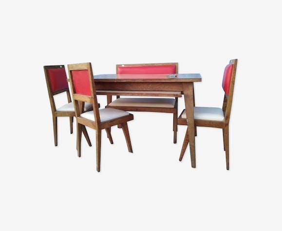 Table années '60 avec 3 chaises et une banquette