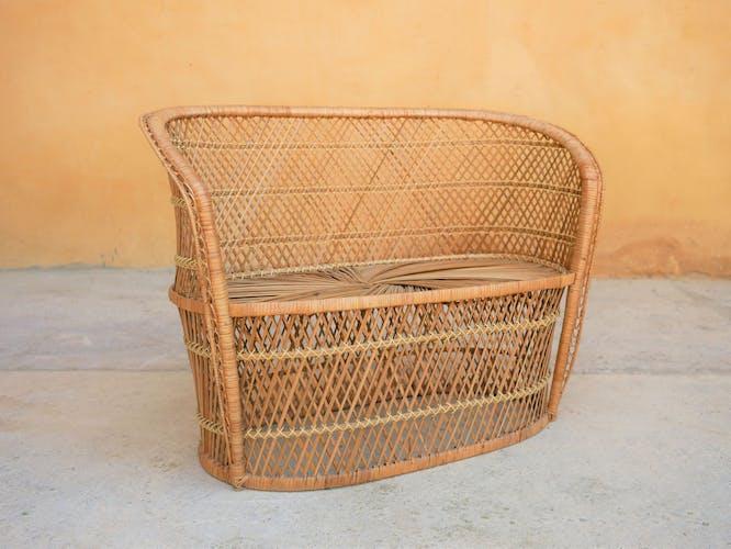 Vintage rattan child's bench