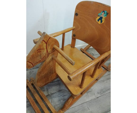"""Chaval à bascule vintage en bois """"ficher"""""""