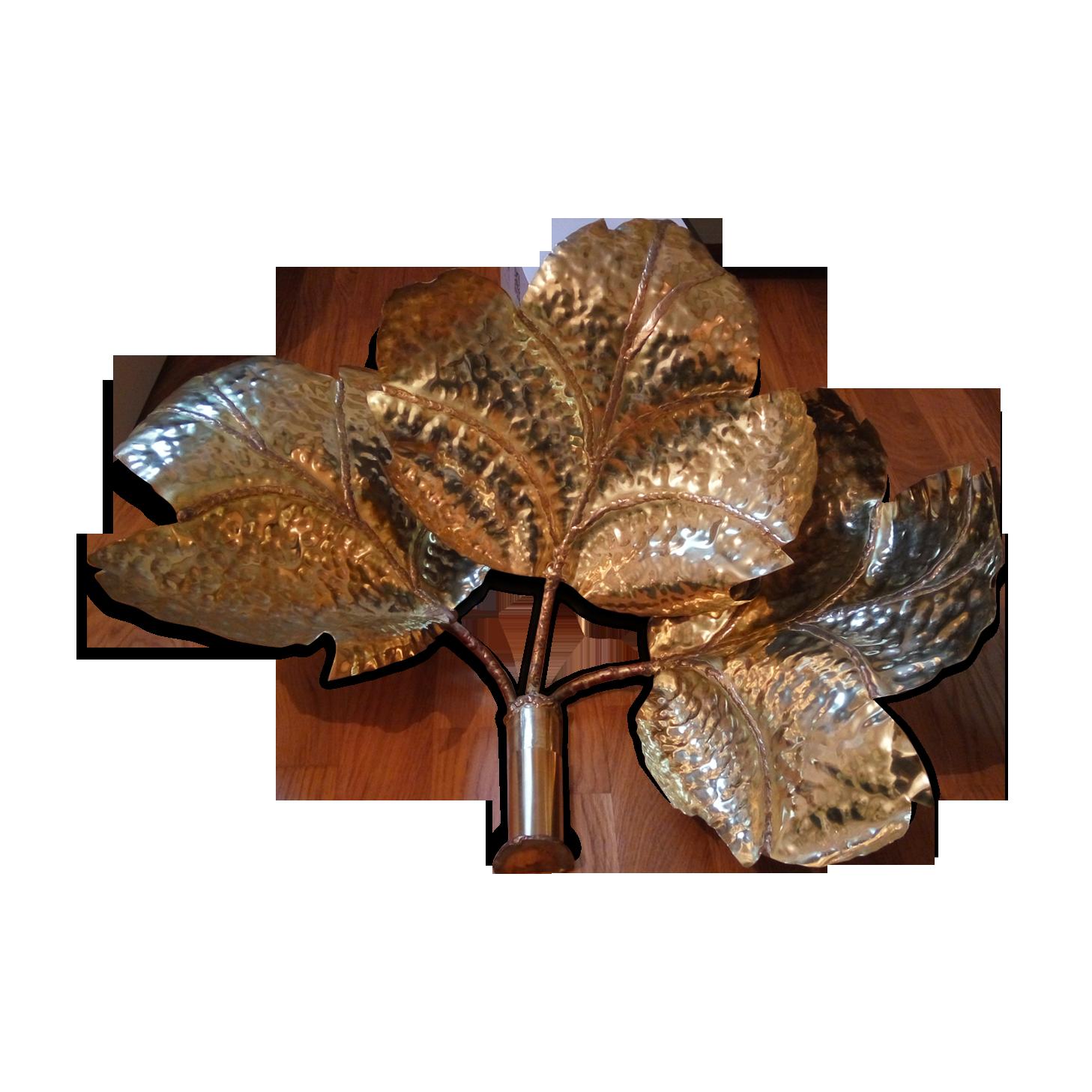 Applique feuilles en laiton vintage brass golden vintage