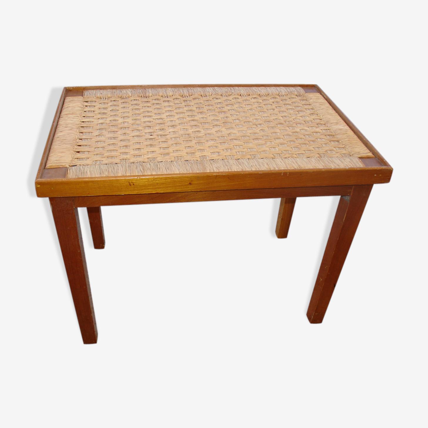 """Table d'appoint dit """"bout de canapé"""" en acajou et paillage fabrication Mexique en 1959"""