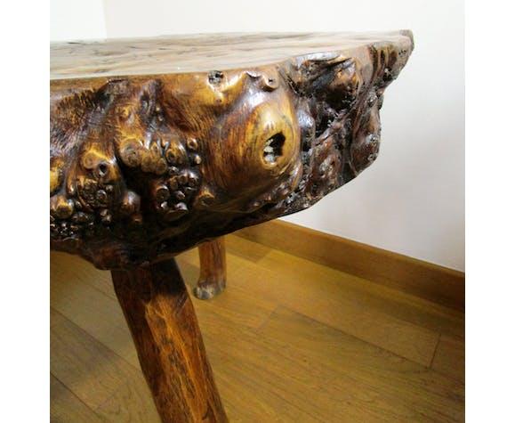 Solid wood table solid form free rawist vintage tripod