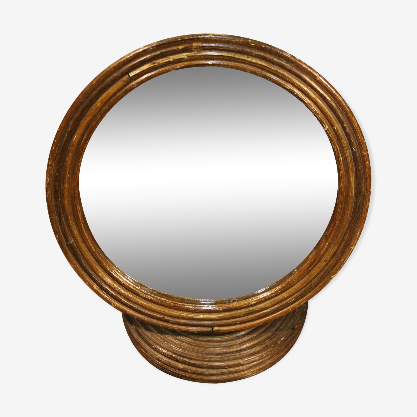 Miroir rotin sur pied années 60 taille  30x29cm