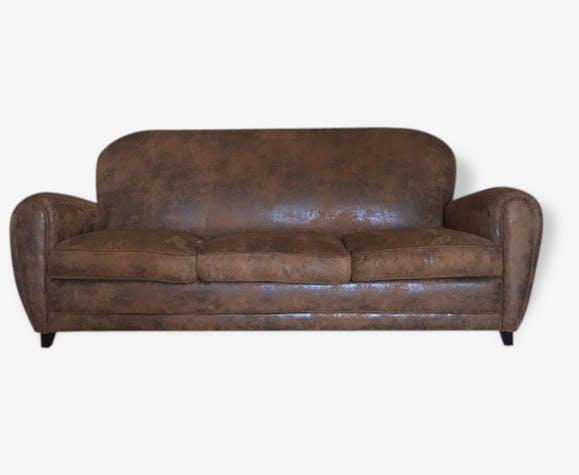Canapé 3 places en suédine marron - tissu - marron - vintage - 107553