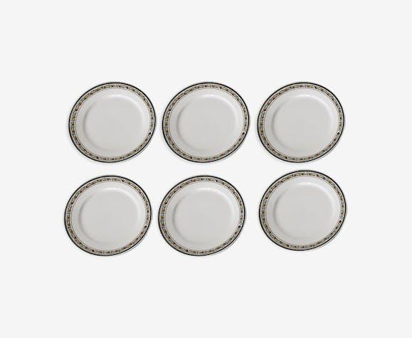 6 assiettes plates Sarreguemines époque Art Déco