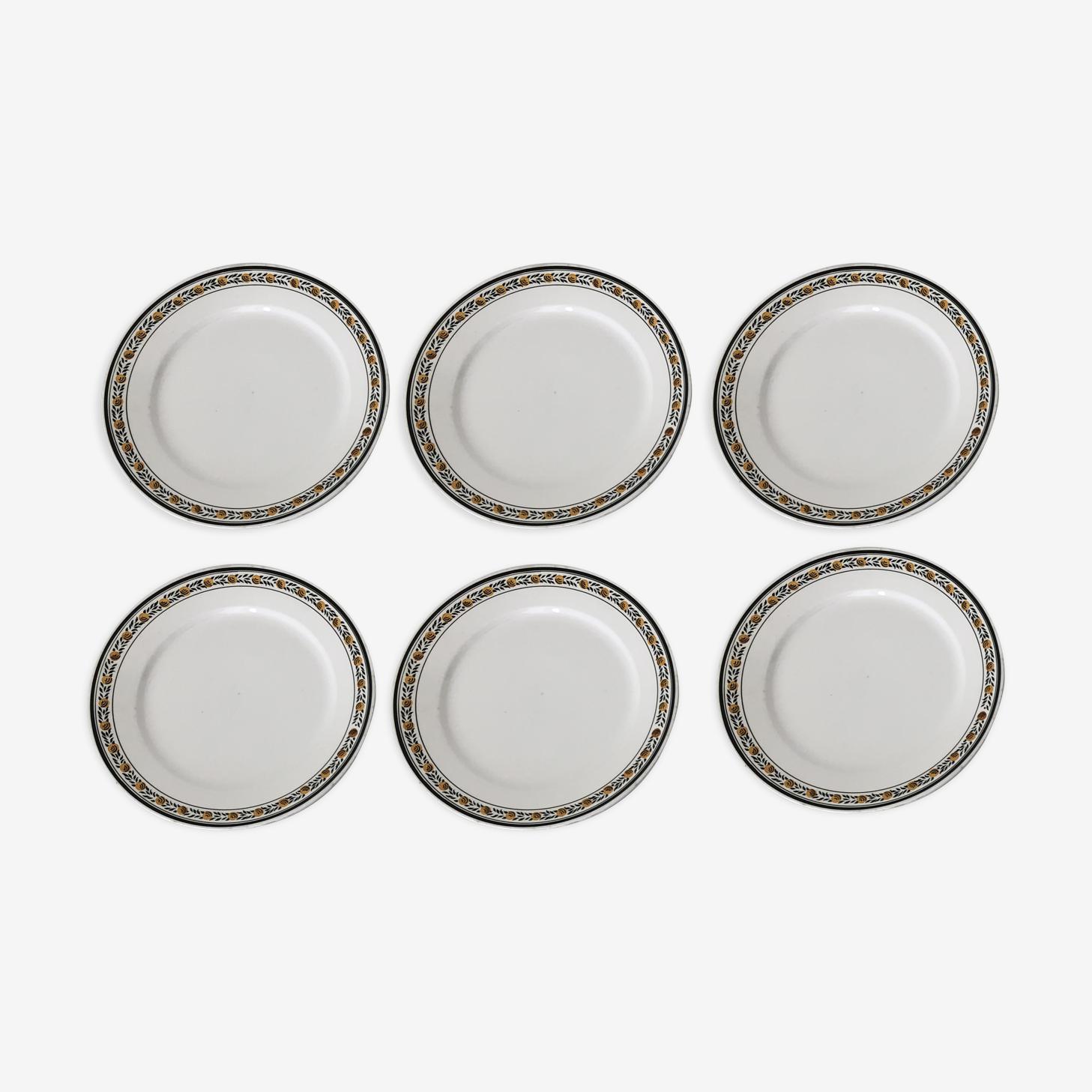 6 dinner plates Sarreguemines era Art Deco