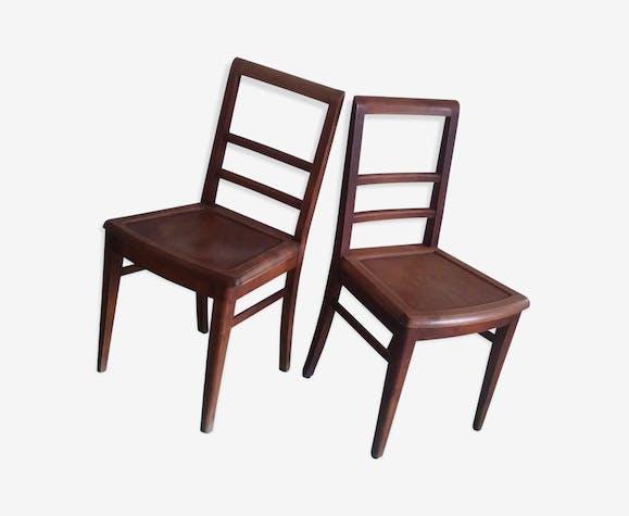 Paire de chaises bistrot vintage en bois