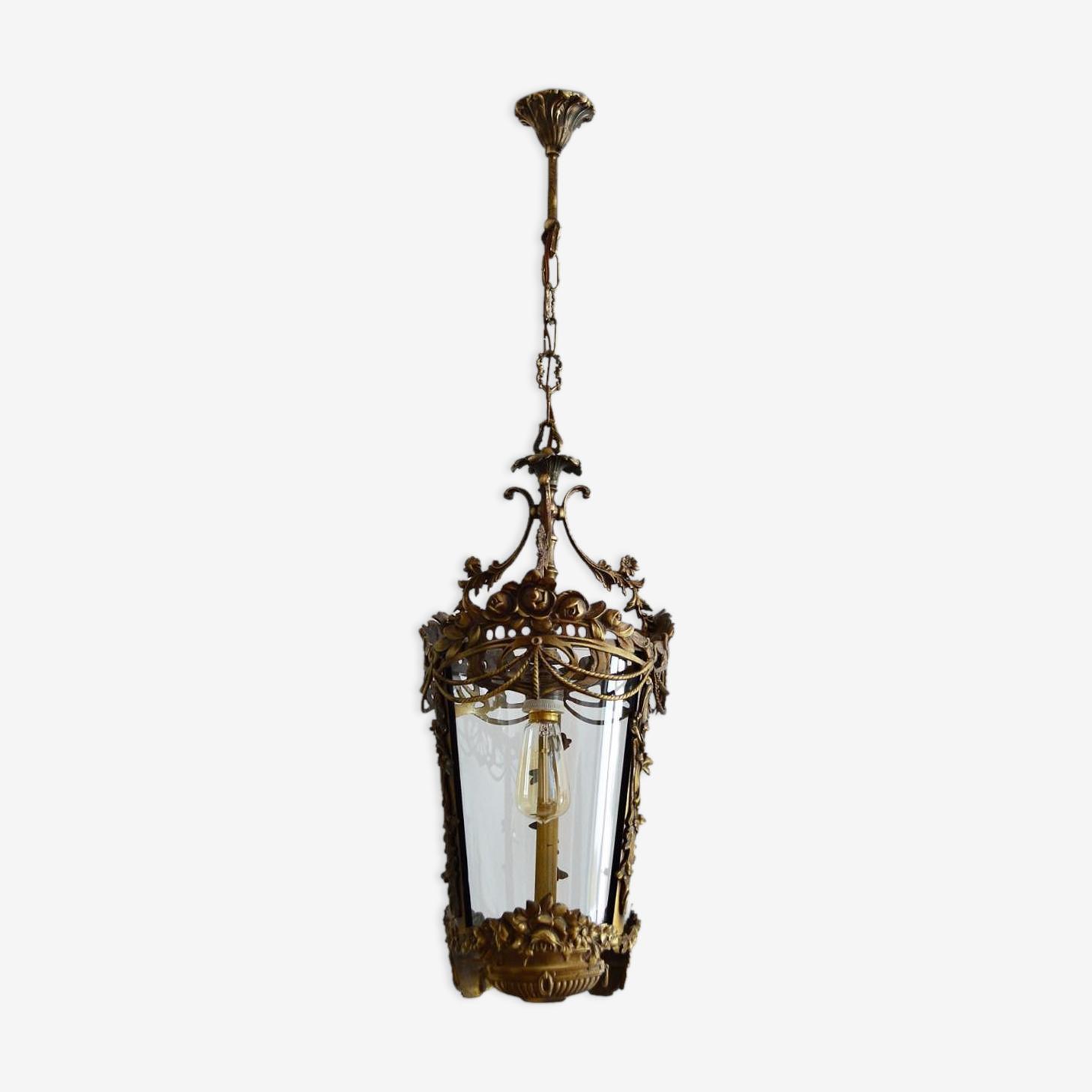 Lanterne fleur & guirlande en bronze Italie 1950s