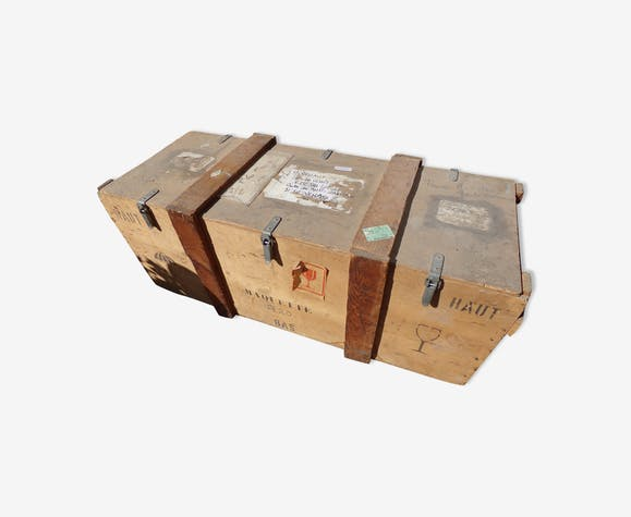 Large wooden crate with lid