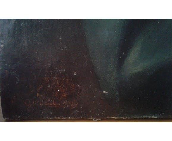 """Portrait huile sur toile """"dame au bonnet de dentelle """"19eme"""