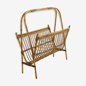 Belgian Wicker Magazine Rack 1970s