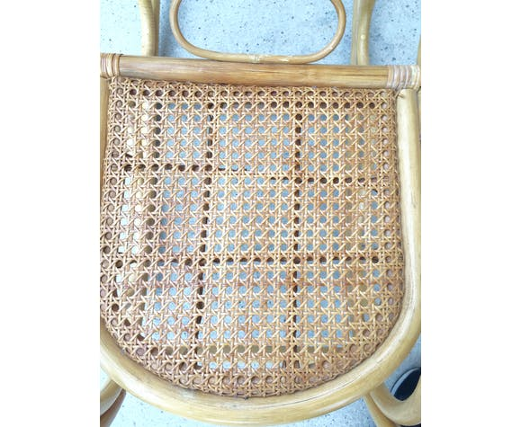 Rocking chair enfant en bois, rotin et cannage