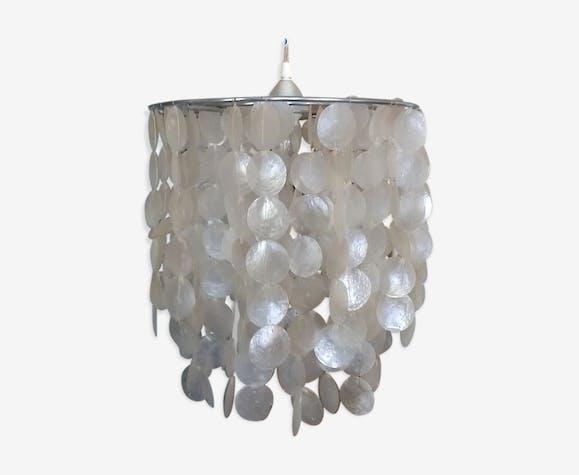 lustre en nacre blanche - pierre et plâtre - blanc - vintage - tncbzvp