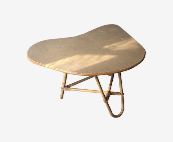Table tripode en rotin des années 50/60