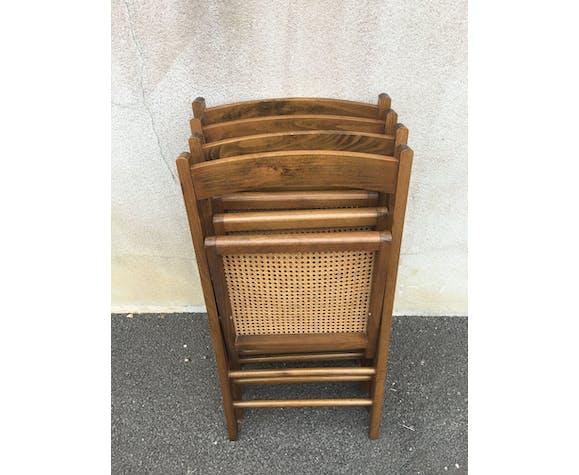 Lot de 4 chaises pliantes cannées bois brun
