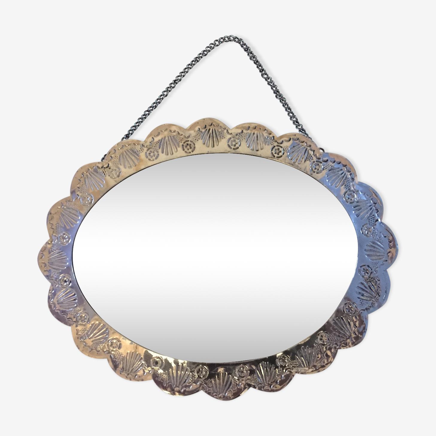 Miroir ovale en métal 16x20cm