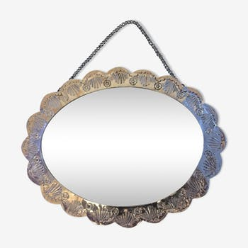 Metal oval mirror 16x20cm