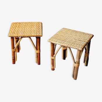 Paire de tables d'appoint vintage en rotin
