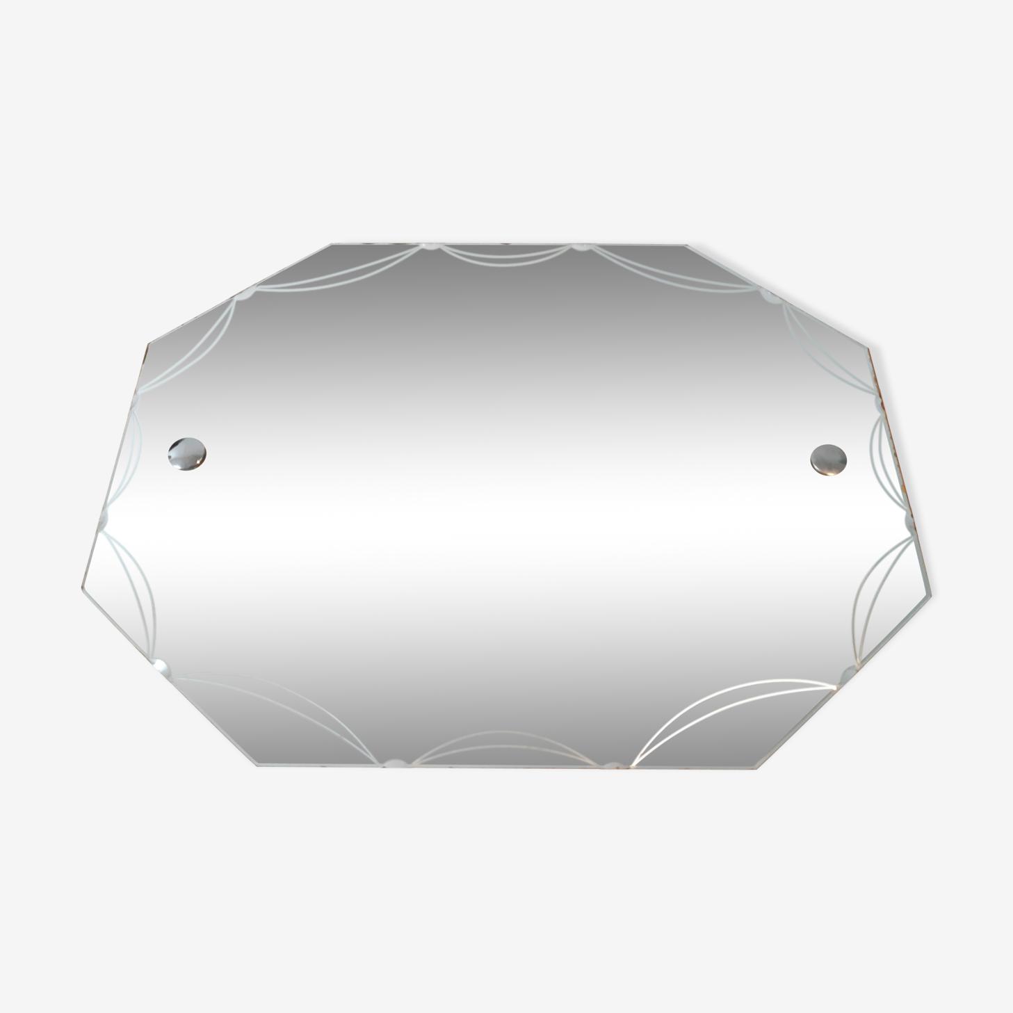 Miroir octogonal biseauté gravé 51x39cm