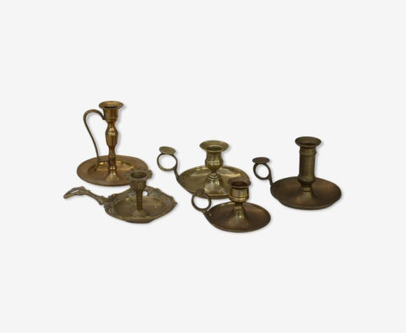 Lot of 5 candlesticks, vintage brass cellar rats 1960,70, decoration for wedding, elegant and boheme