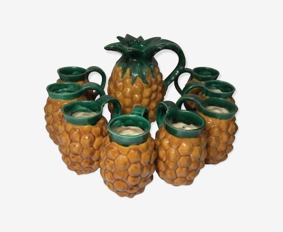 Service à orangeade Vallauris vintage forme ananas pichet +8 verres