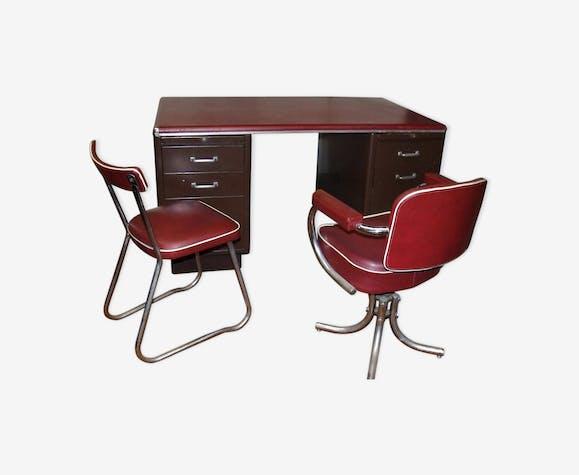 Bureau industriel roneo bordeaux avec son fauteuil et sa chaise m tal bordeaux industriel - Chaise bureau industriel ...