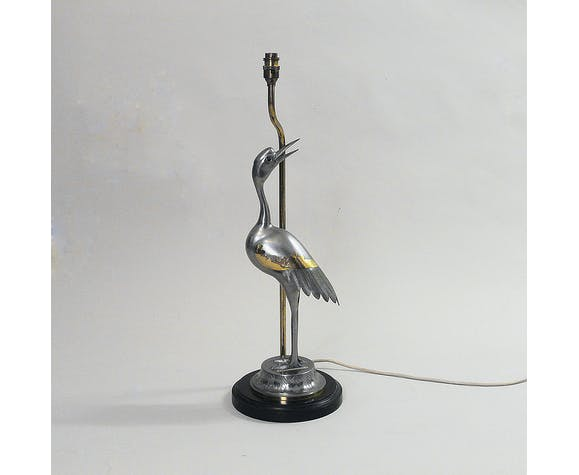 Heron chrome & brass table lamp hollywood regency