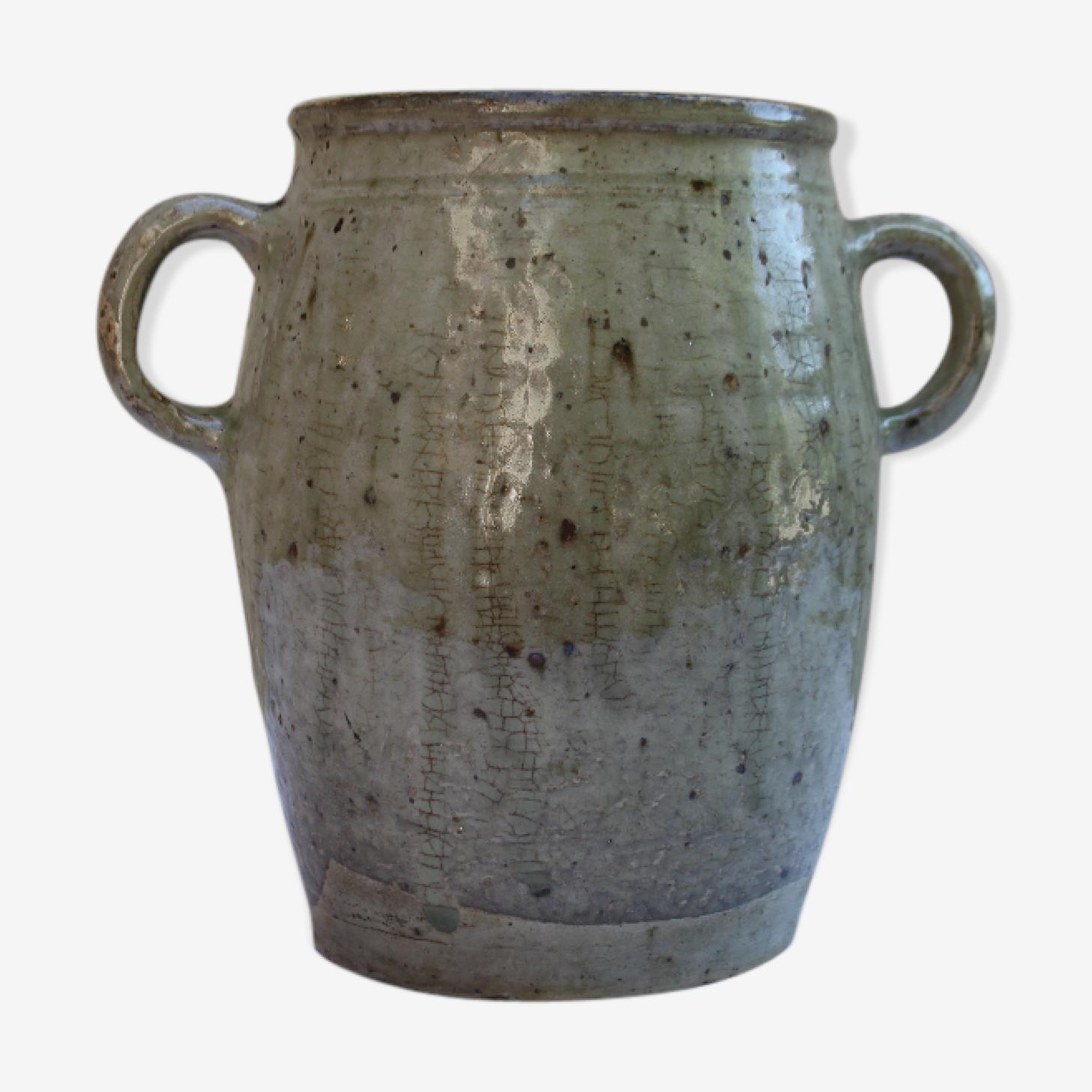 Ancien pot à graisse en grès vernissé