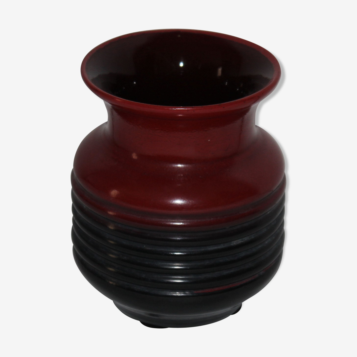 Vase boule en verre vintage