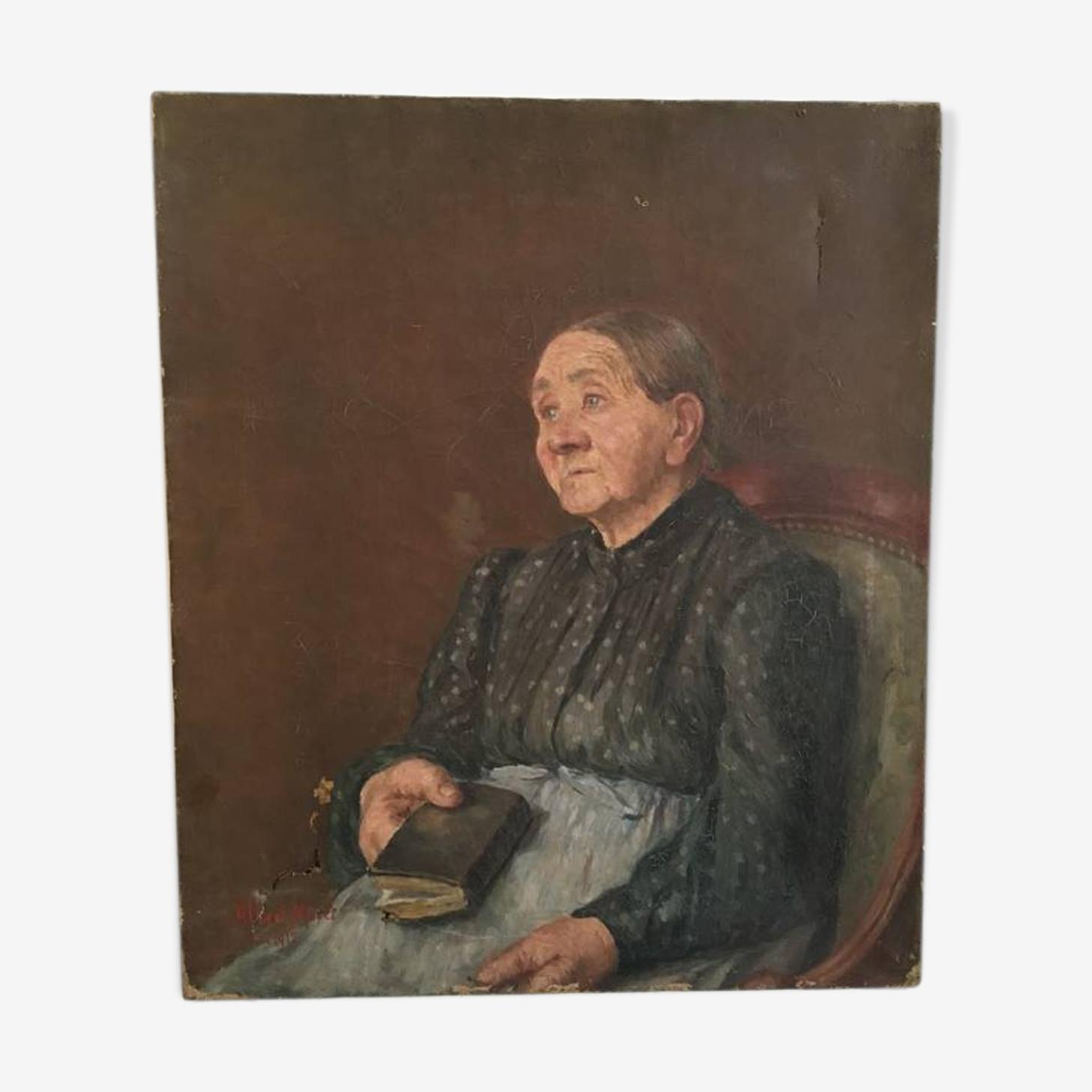 """Portrait à l'huile 1912 """"mamie nova"""""""