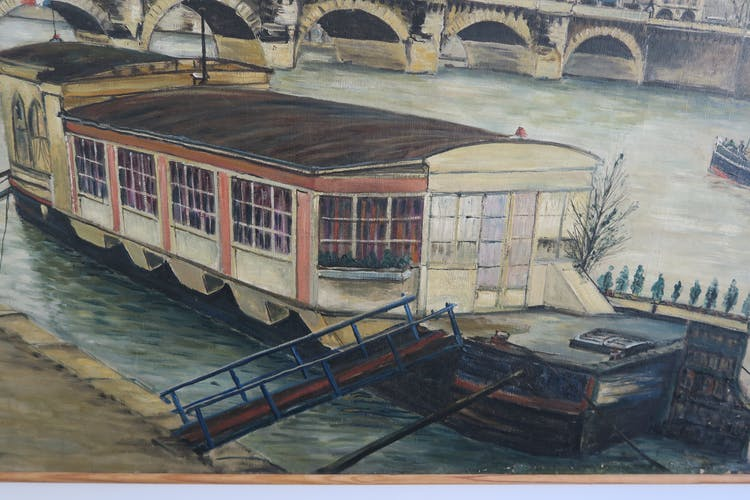Panorama of paris pont - peniche by Pierre Farge (1878-1947)