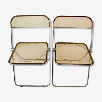 Pair of folding chairs Plia Anonima Castelli, 70s