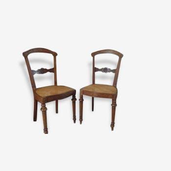 Paire de chaise ancienne cannée
