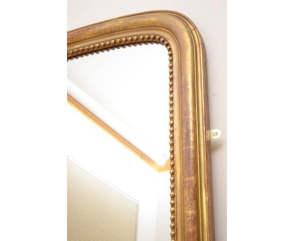 Miroir mural en bois doré du XIXe siècle - 167x103cm